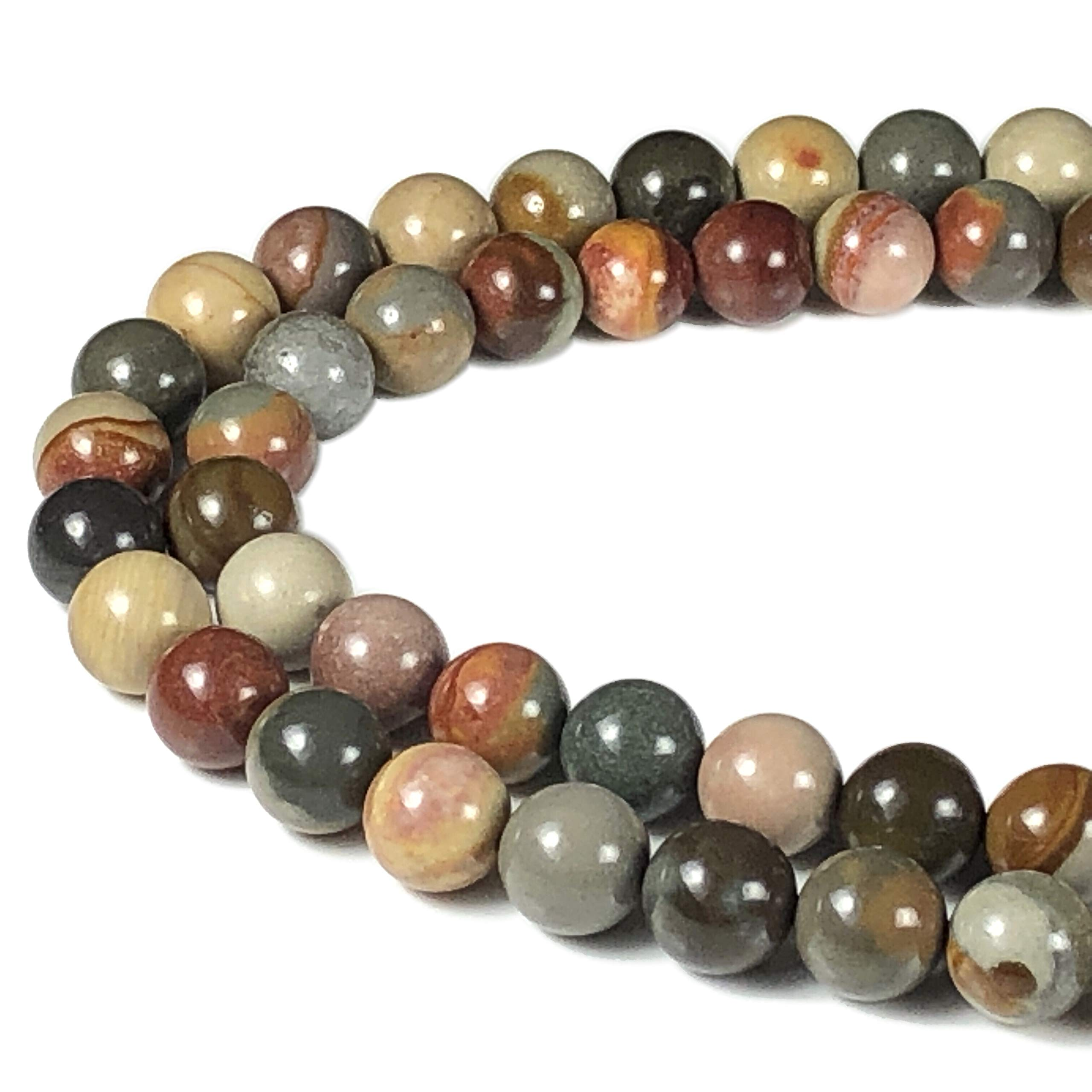 [ABCgems] Madagascan Polychrome Jasper AKA Royal Savannah Jasper (One of The Rarest Jaspers in The World) 8mm Smooth Round Beads for Beading & Jewelry Making by ABC GEMS USA