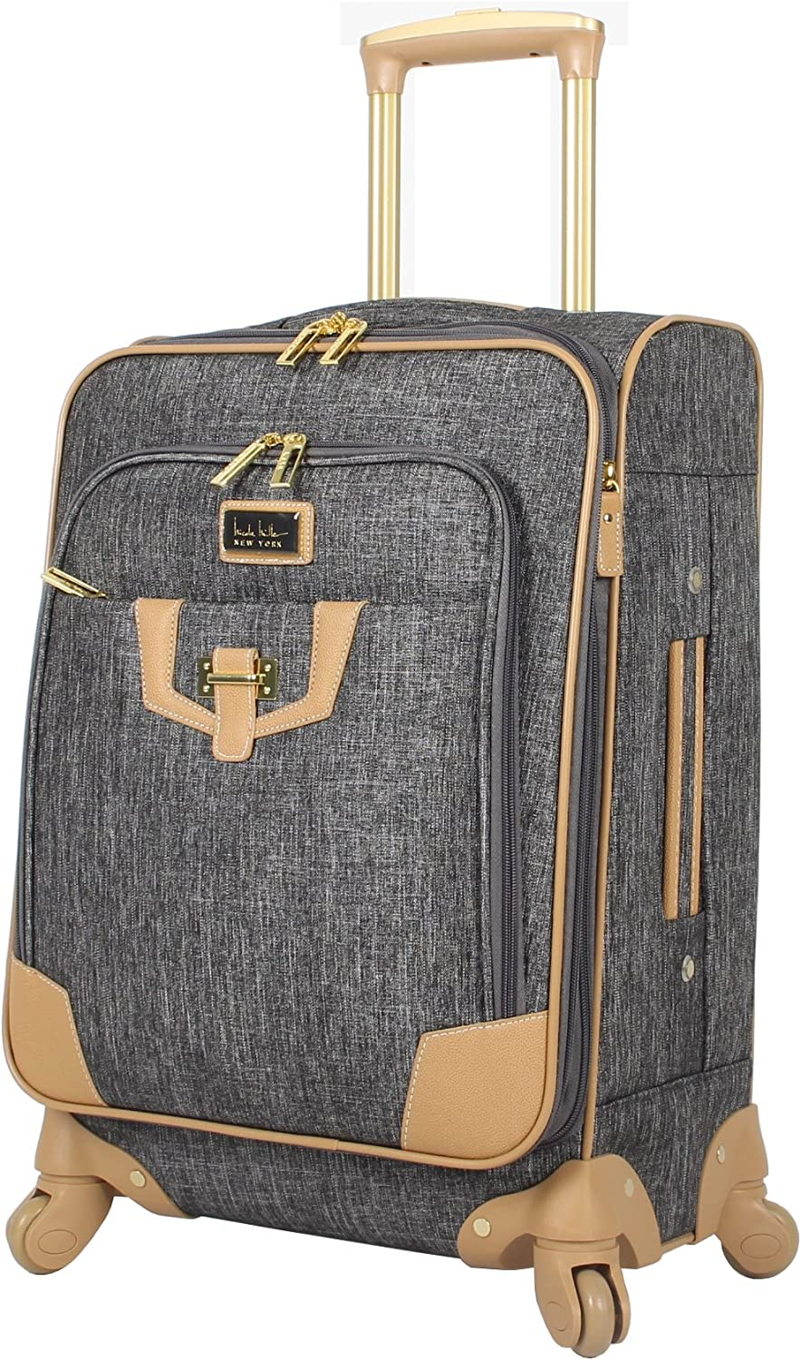 Nicole Miller New York Luggage Collection – Designer Lightweight Softside Expandable Suitcase- 20 Inch Carry On Bag with 4-Rolling Spinner Wheels Paige Silver