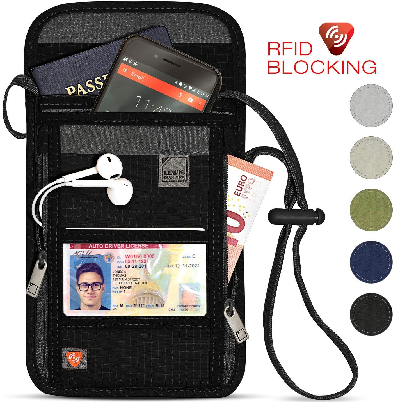 Lewis N. Clark RFID Blocking Stash Neck Wallet, Travel Pouch + Passport Holder for Women & Men, Black by Lewis N. Clark