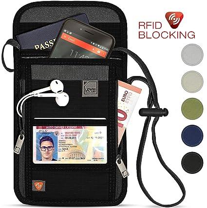 210ef74f7018 Lewis N. Clark RFID Blocking Stash Neck Wallet, Travel Pouch + Passport  Holder for Women & Men, Black