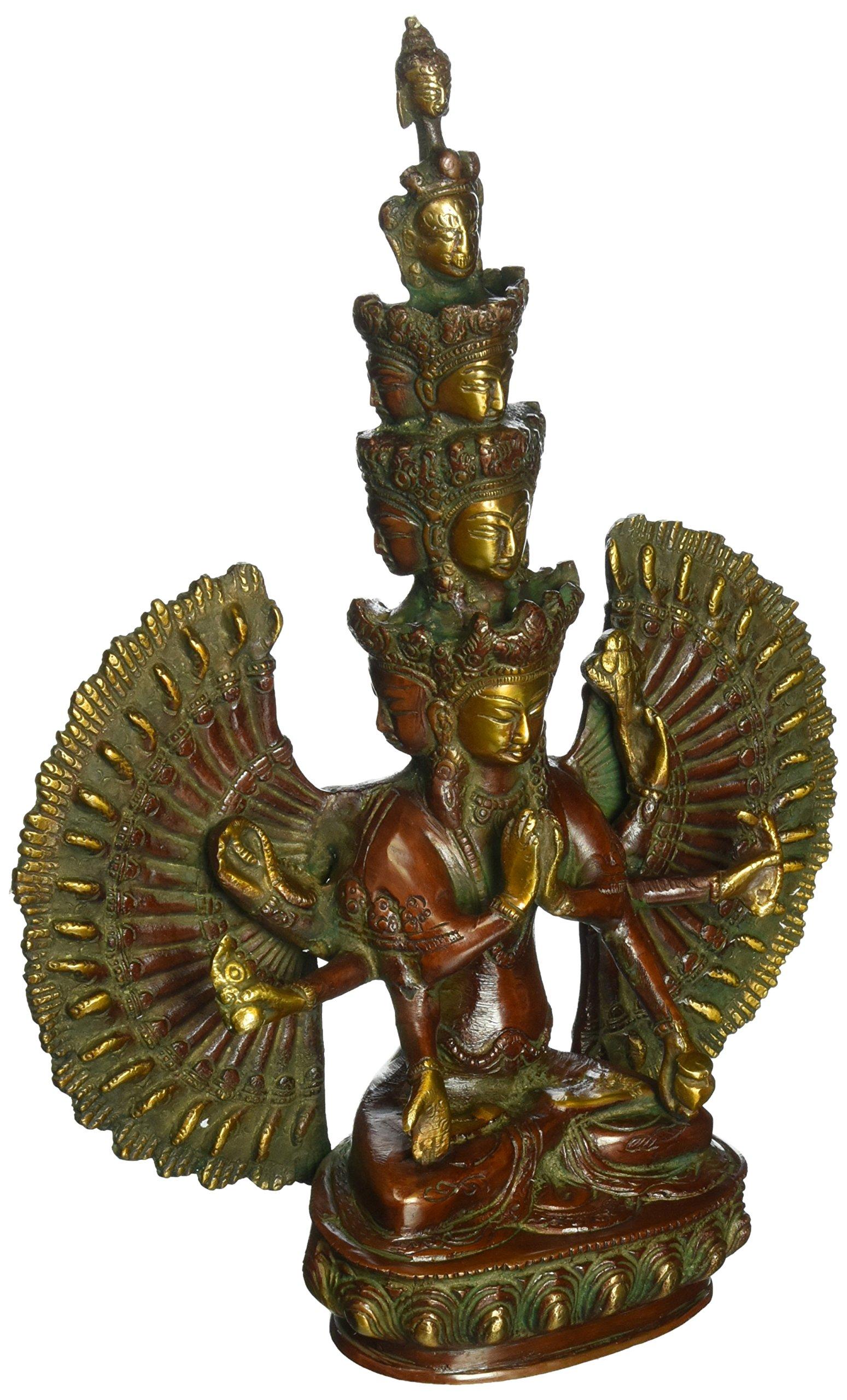 Aone India Large 12 '' 1000 Arms Avalokiteshvara Buddha Statue Goddess Guan Yin Nepal Brass Sculpture + Cash Envelope (Pack Of 10)