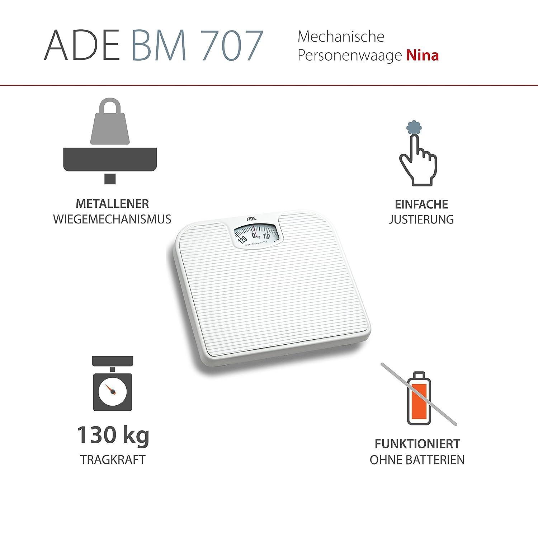ADE Báscula mecánica BM 707 Nina. Análoga y mecanismo de metal (Blanca): Amazon.es: Salud y cuidado personal