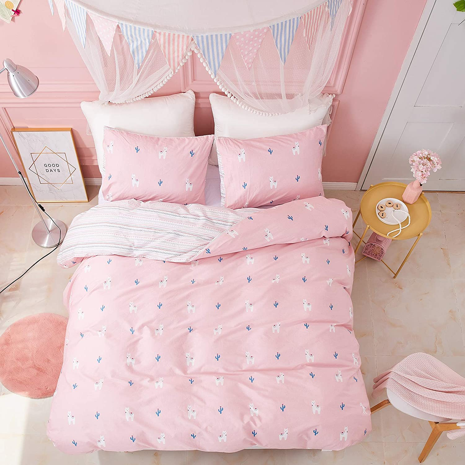 CLOTHKNOW Pink Alpaca Bedding Duvet Cover Sets Twin Duvet Cover Kids Toddler Cotton Llama Cactus Reversible Striped Bedding Duvet Cover Sets with 2 Pillowcases