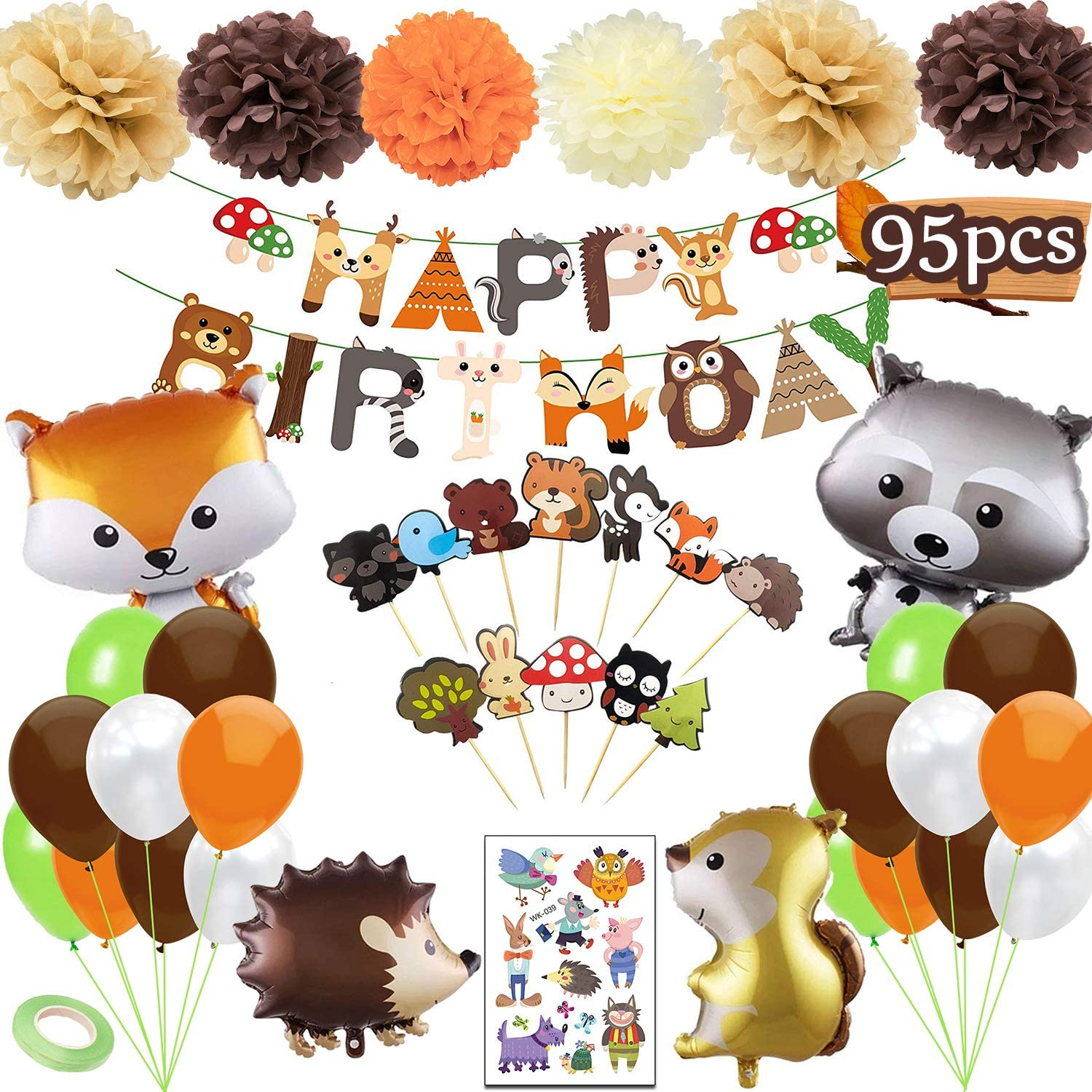 Funnlot Woodland Baby Shower Decorations 95PCS Woodland Party Supplies Woodland Party Decorations Including Happy Birthday Banners Woodland Party Balloons