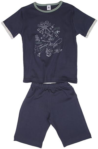 Petit Bateau - Pijama con cuello barco para niño, talla 2 Ans - talla francesa