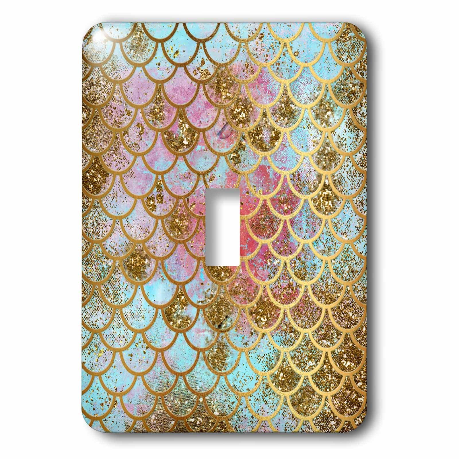 3dRose (lsp_266933_1) Single Toggle Switch (1) Sparkling Pink Luxury Elegant Mermaid Scales Glitter Effect Art Print