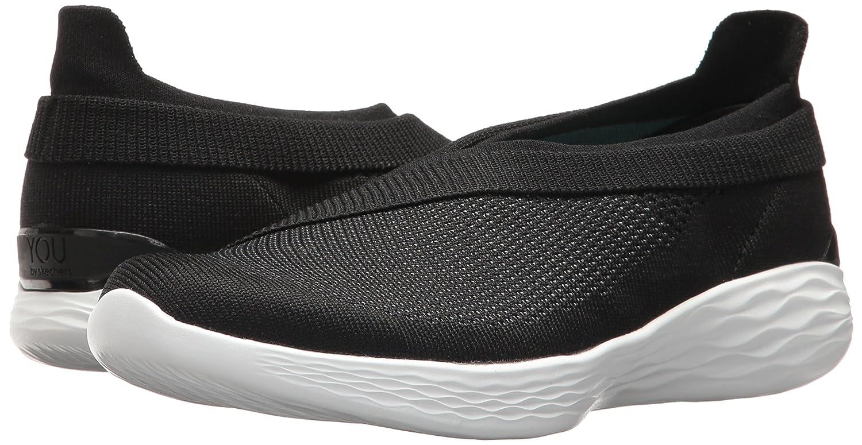 LADIES SKECHERS YOU LUXE BLACKWHITE SLIP ON WALKING SHOES