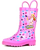 Shopkins Kids Girls Character Printed Waterproof Easy-On Rubber Rain Boots (Toddler/