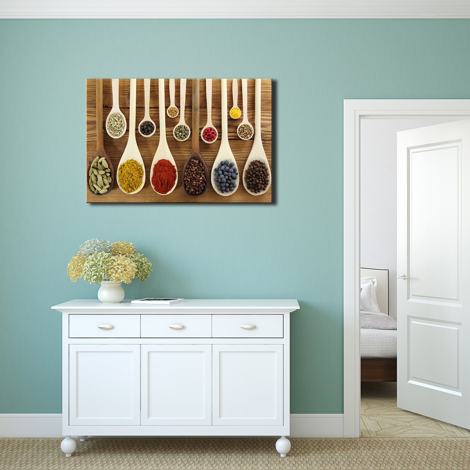 Colorful Spices in Wooden Spoons Wall Decor - Canvas Art   Wall26