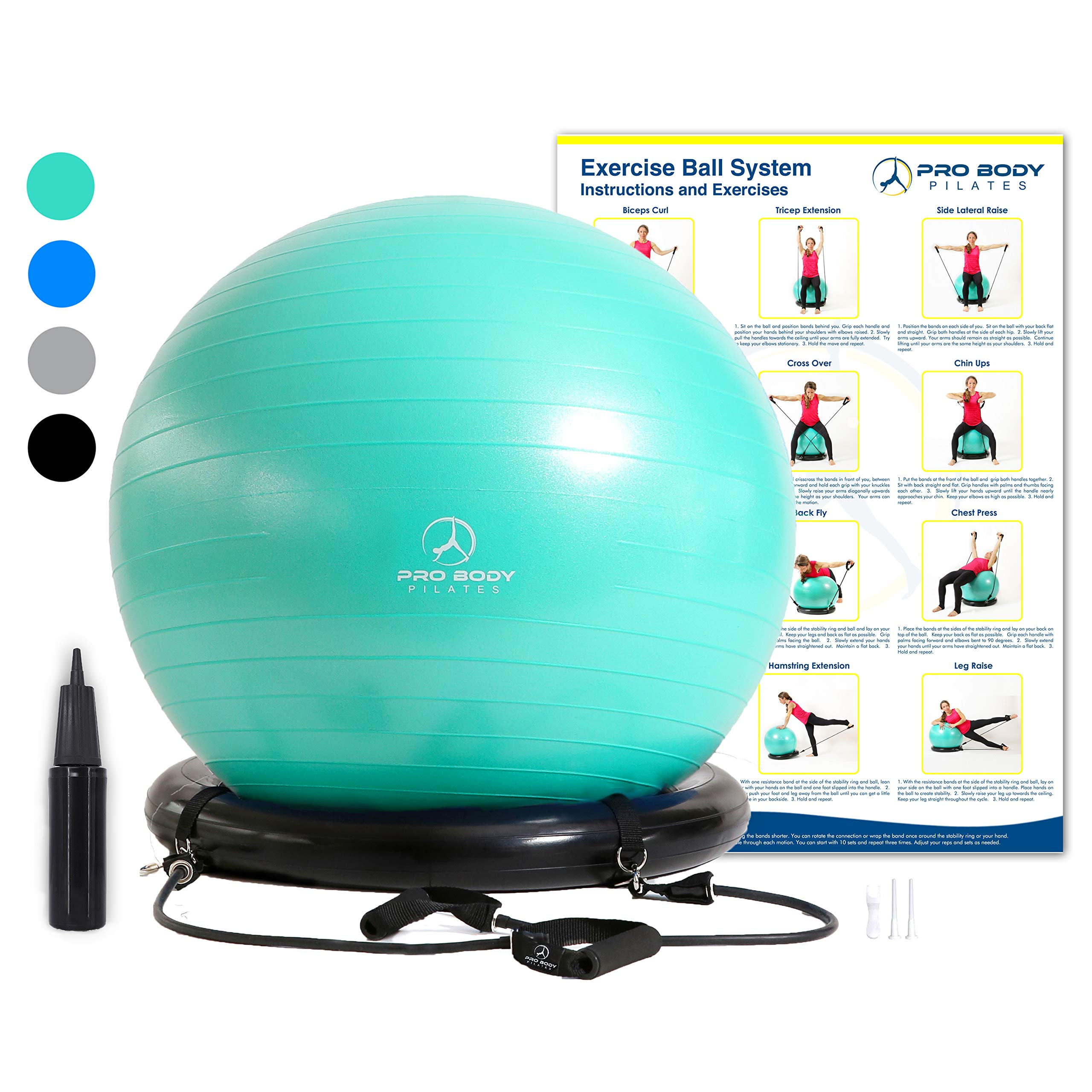 Exercise Ball Chair System - Yoga and Pilates 65 cm Ball with Stability Base and Workout Resistance Bands for Gym, Home, or Office (Aqua, 65 cm) by ProBody Pilates