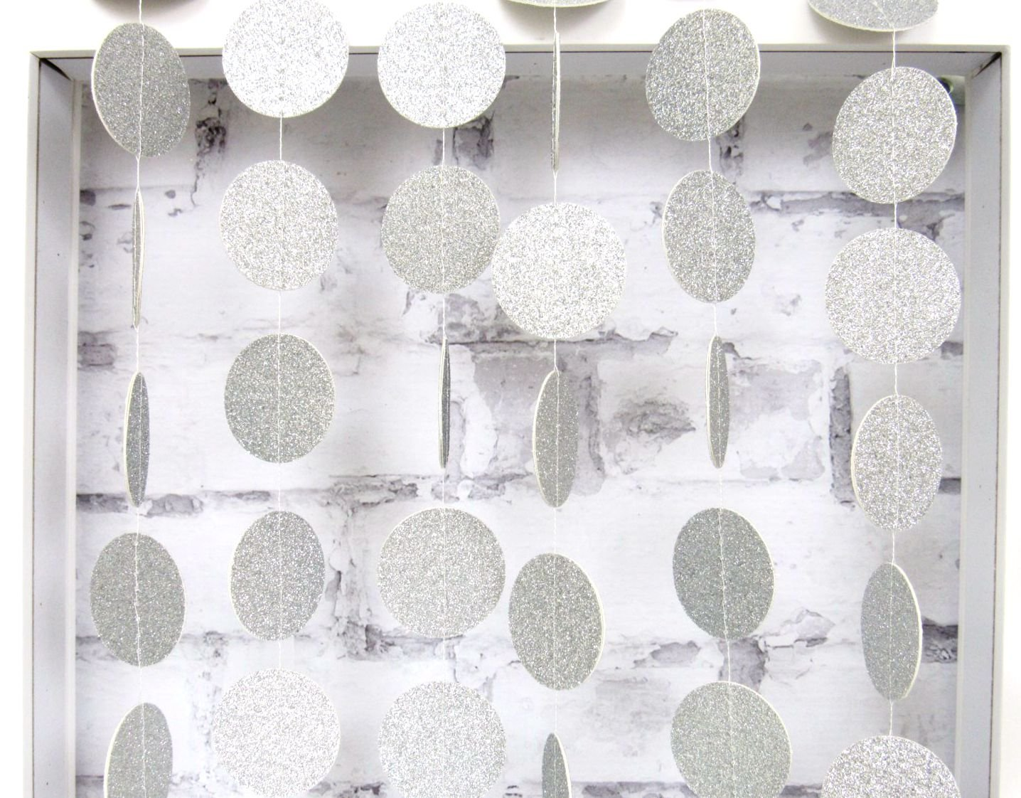 My lifestyle 26Ft Set of 2 Circle Dots Paper Garland for Room Party Decorations Backdrop - (Silver ,Glitter)