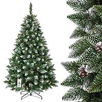 FairyTrees Albero di Natale Artificiale Pino, Verde Naturale, Materiale PVC, Vere pigne, incl. Supporto in Metallo, VASTISSIMA Scelta*