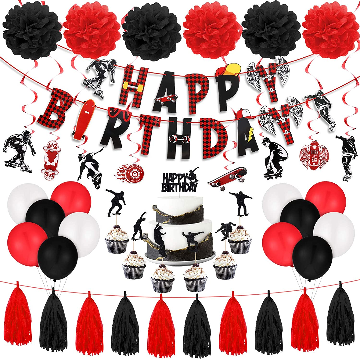 Skateboard Theme Birthday Party Supplies Decorations Include Skateboard Theme Birthday Banner Skateboard Theme Cake Toppers Latex Balloons Hanging Swirls Paper Pom Poms for Skater Birthday Party Decor