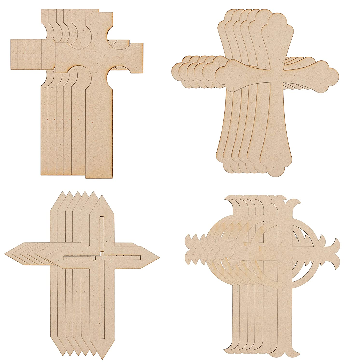 Wood Cutouts 24 Pack Cross Cutouts 4 Unfinished Wooden Cross Shapes For Diy Arts And Crafts Projects Decorations Ornaments 6 Of Each