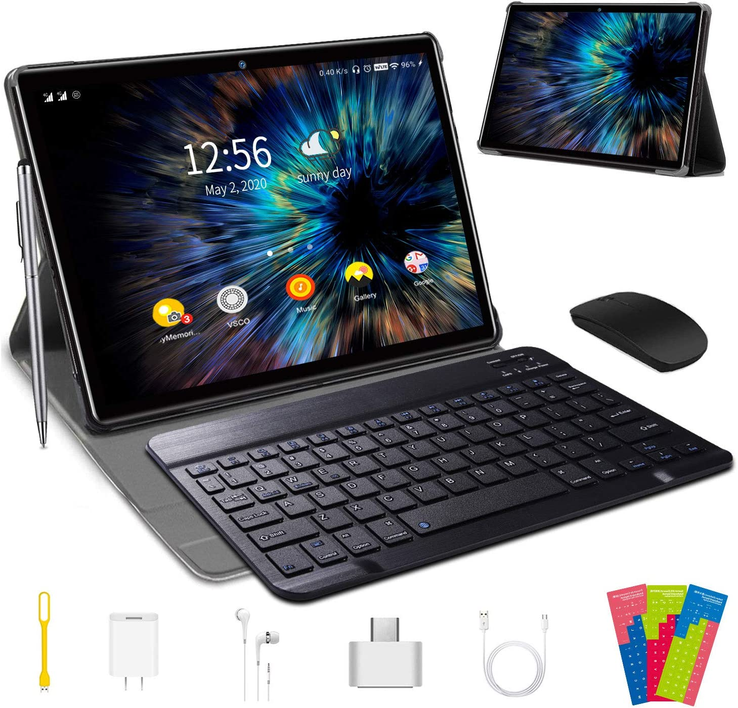 Tablet 10 Pulgadas 4 GB RAM 64GB/128GB ROM Android 9.0 Certificación Google GMS Ultrar-Rápido Tablets 4G LTE Dual SIM / WiFi 8000mAh Quad Core /GPS,Type-c, OTG, Netfilix/ - con Teclado (Negro)