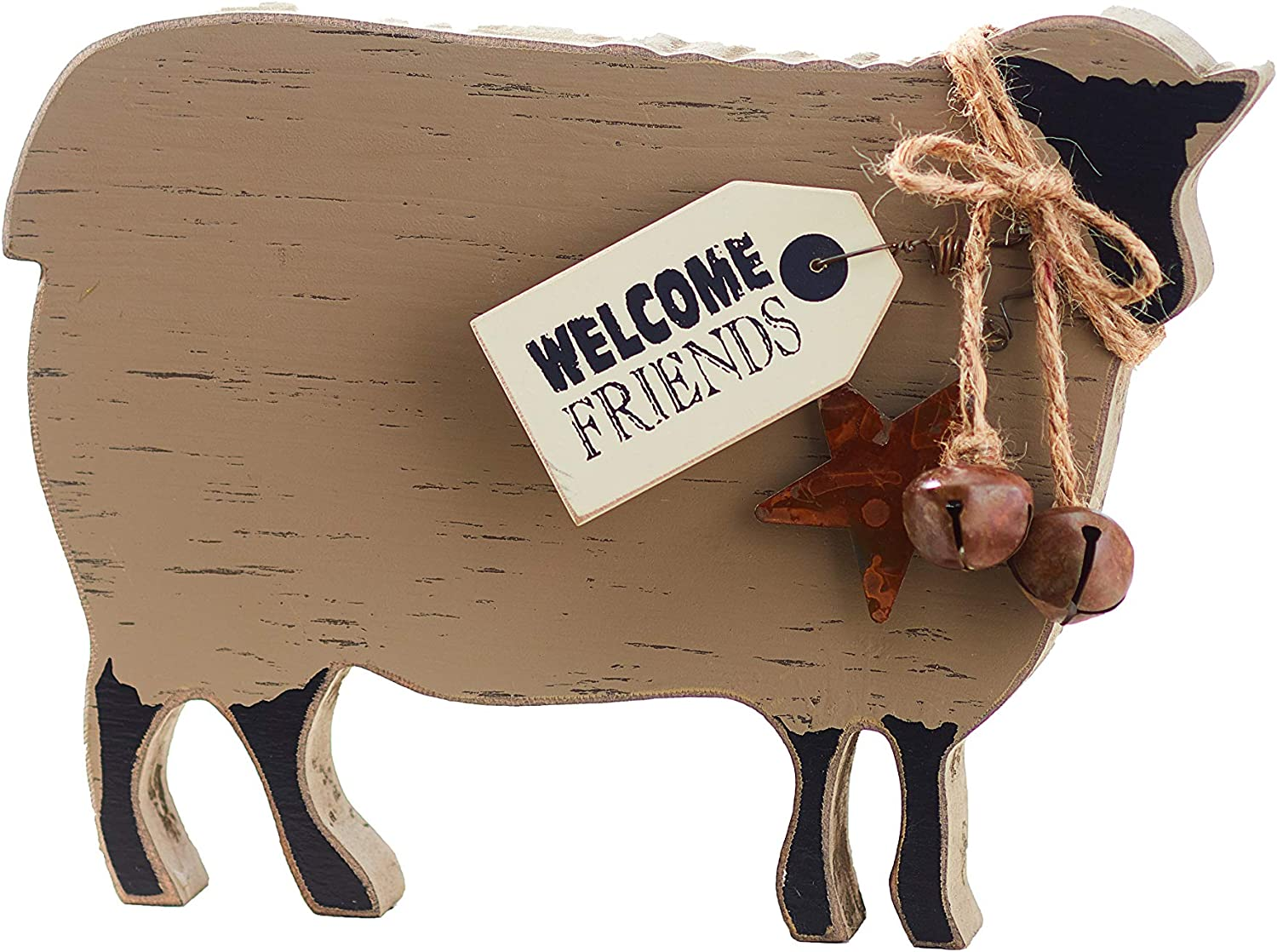 The Lakeside Collection Welcome Sheep Shelf Sitter Sentiment - Farm Animal Wood Block Sign