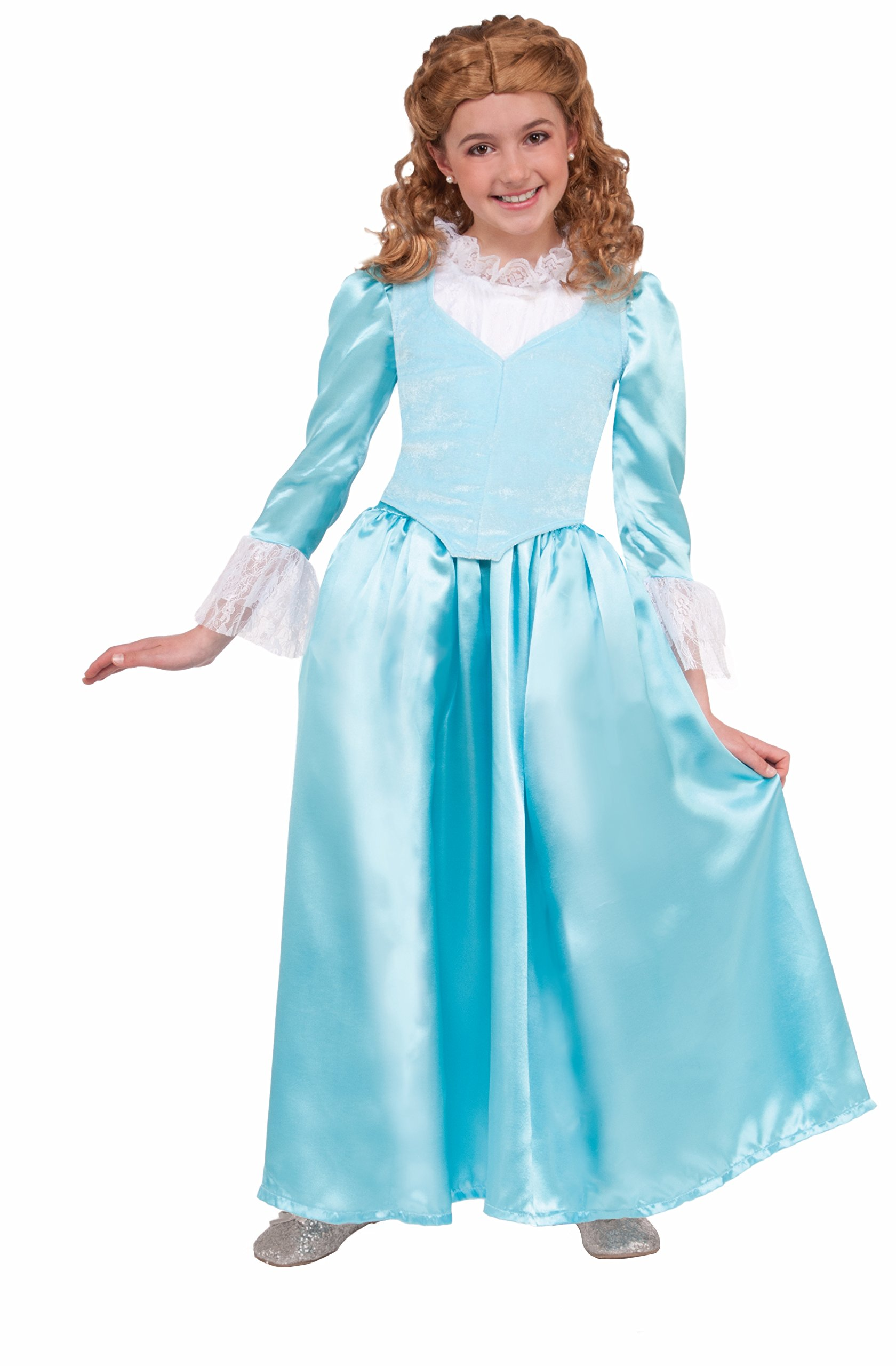 Forum Novelties Kids Colonial Lady Costume, Blue, Medium
