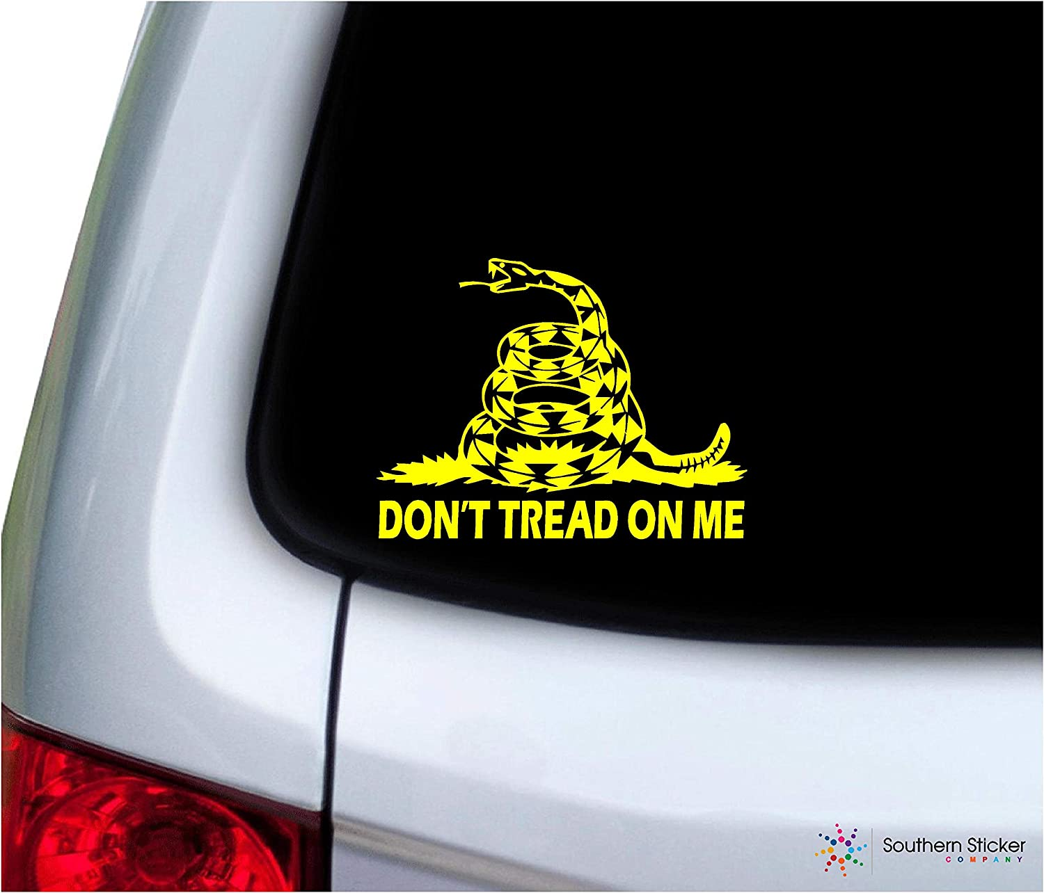 Southern Sticker Company Don't Tread on me Snake with Text 3.9x5.1 inches Size Gadsden Flag Marines Vinyl Laptop car Window Truck - Made and Shipped in USA (Yellow)