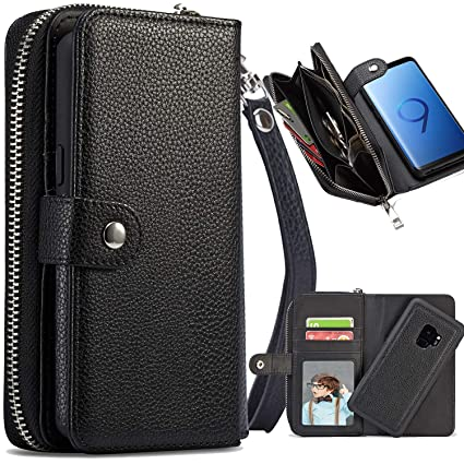buy online bac39 d5568 S9 Case, Galaxy S9 Zipper Wallet Case, XRPow PU Leather Pocket Purse  Protective Magnetic Detachable Folio Flip Carrying Case with Card Holder fo  ...