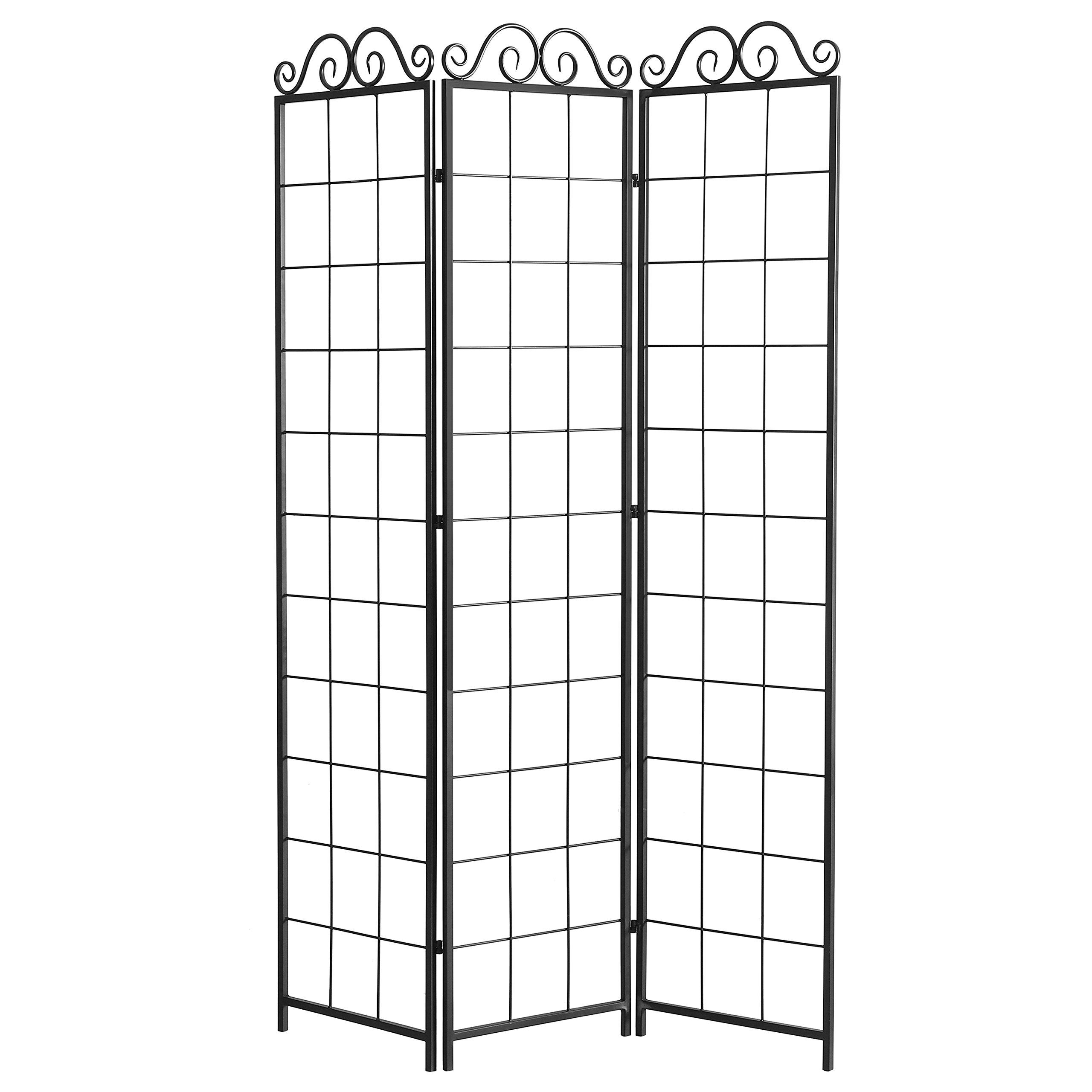 Folding 3 Panel Black Metal Scrollwork Design Wire Trellis Divider Screen