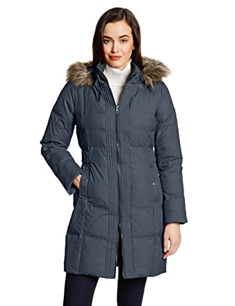 9d25a7775 Amazon.com  Larry Levine Women s Hooded Three-Quarter Length Down ...