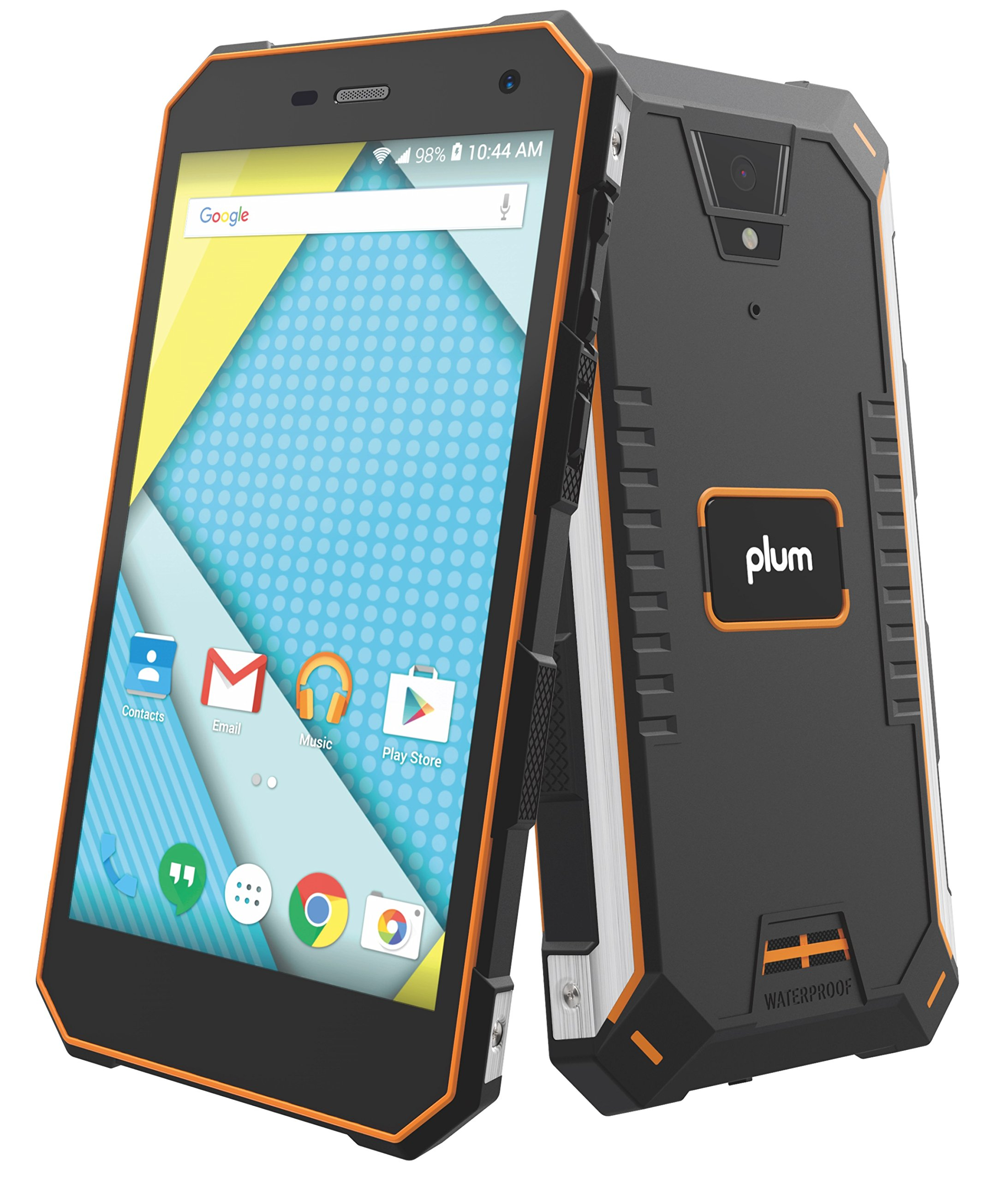 Plum Gator 4 - Rugged Smart Cell Phone Unlocked Android 4G GSM 13 MP Camera 5'' HD Display IP68 Military Grade Water Shock Proof 5000 mAh - Black/Org