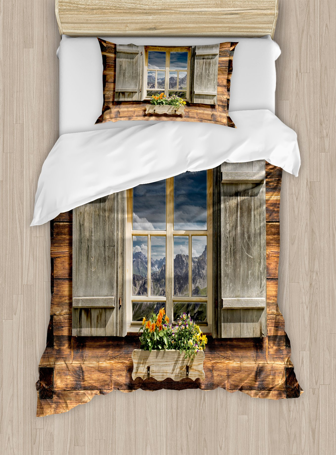 Ambesonne Shutters Duvet Cover Set Twin Size, Weathered Facade of A Mountain Hut with Summer Mountain Reflections on Window, Decorative 2 Piece Bedding Set with 1 Pillow Sham, Brown Green