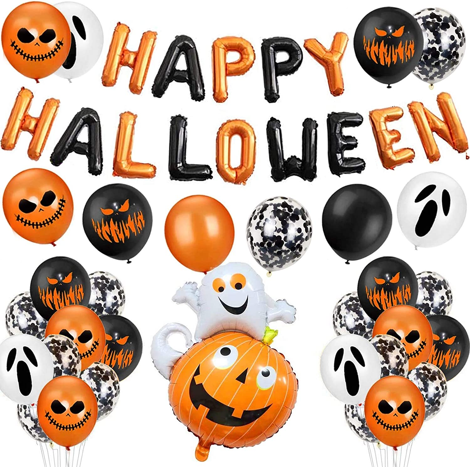 Fete d/'Halloween 2 Sunshine smile Halloween Ballons,Ensemble D/écoration Halloween,Halloween D/écorations Ballons,Ballons Noir Orange