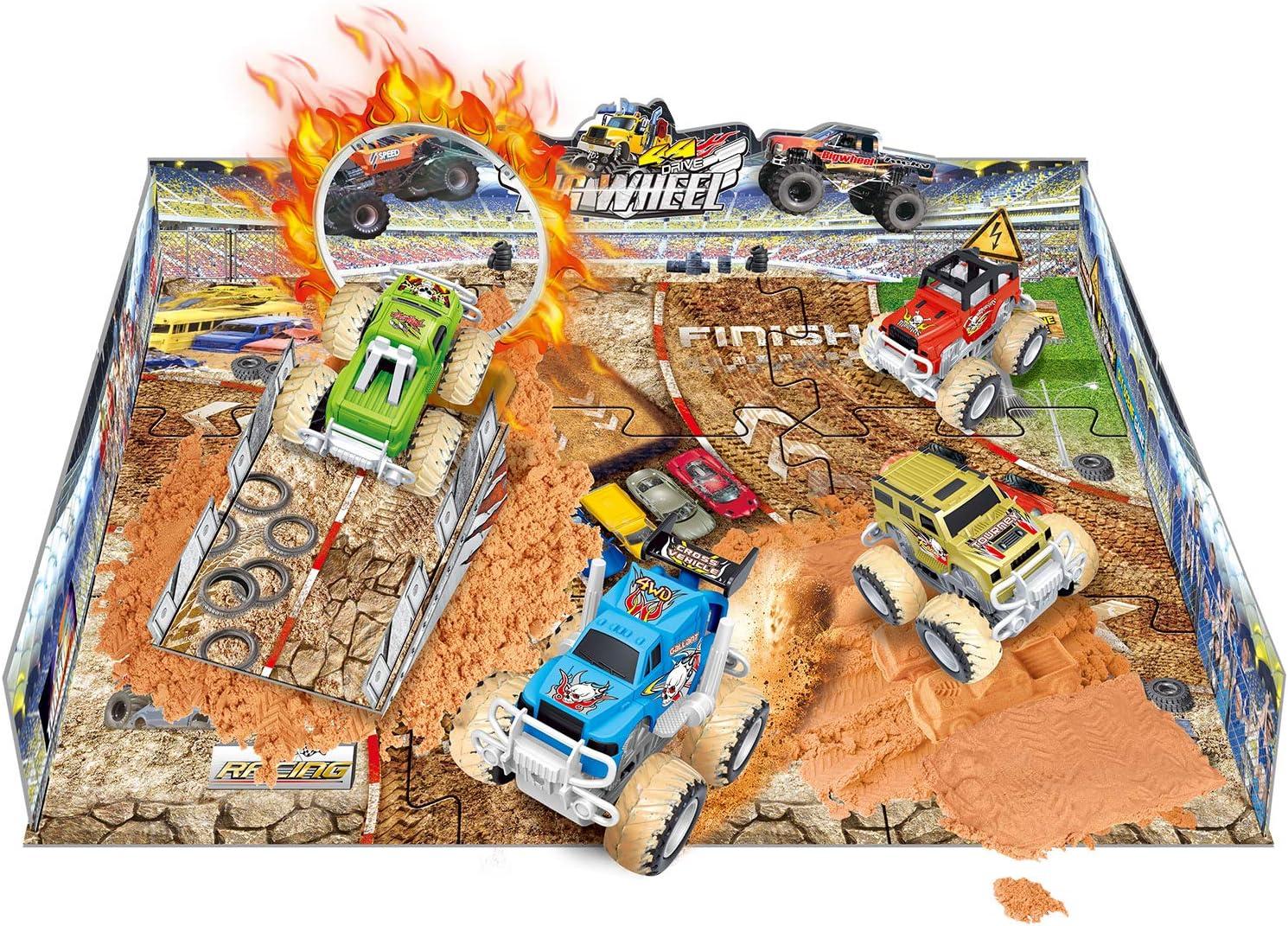 Liberty Imports Big Wheel 4x4 Monster Friction Pullback Truck Stunt Stadium - Includes 2 Vehicles, Molding Sand, Play Mat (38 Pcs)