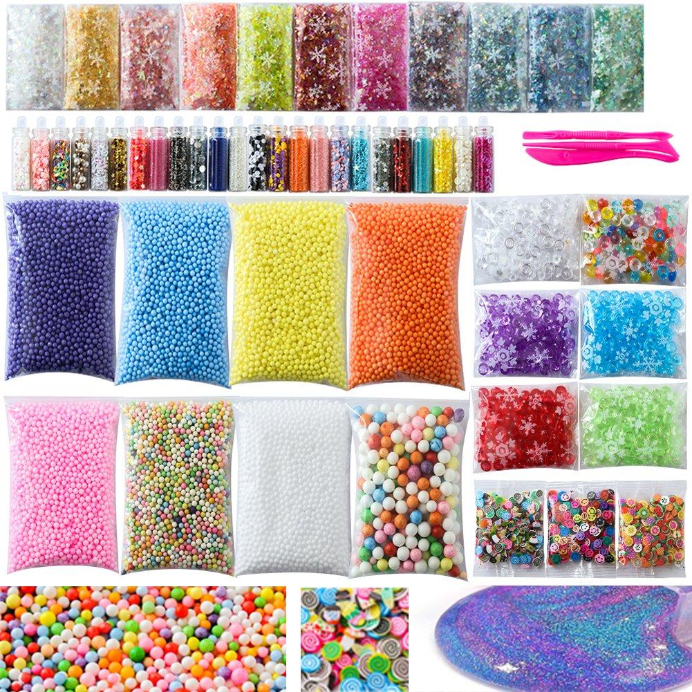Slime Supplies Kit, 56 Pack Slime Kit For Girls, Include Foam Balls, Fishbowl beads, Glitter Jars, Fruit Slices, Sugar Paper, Slime Tools For Homemade Slime, DIY Slime Making