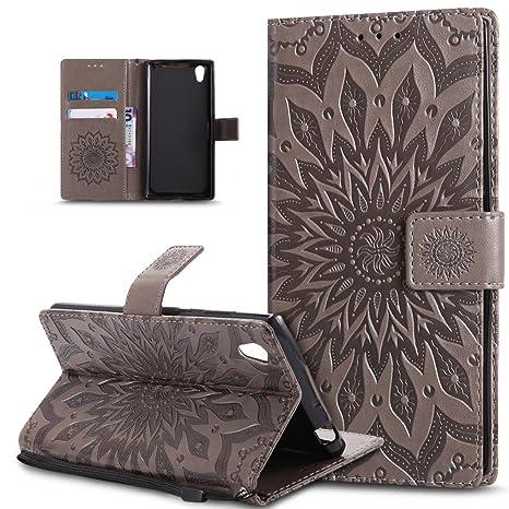 Carcasa para Sony Xperia L1, Funda para Sony Xperia L1, diseño de Mandala en Relieve, diseño de Flores de ikasus