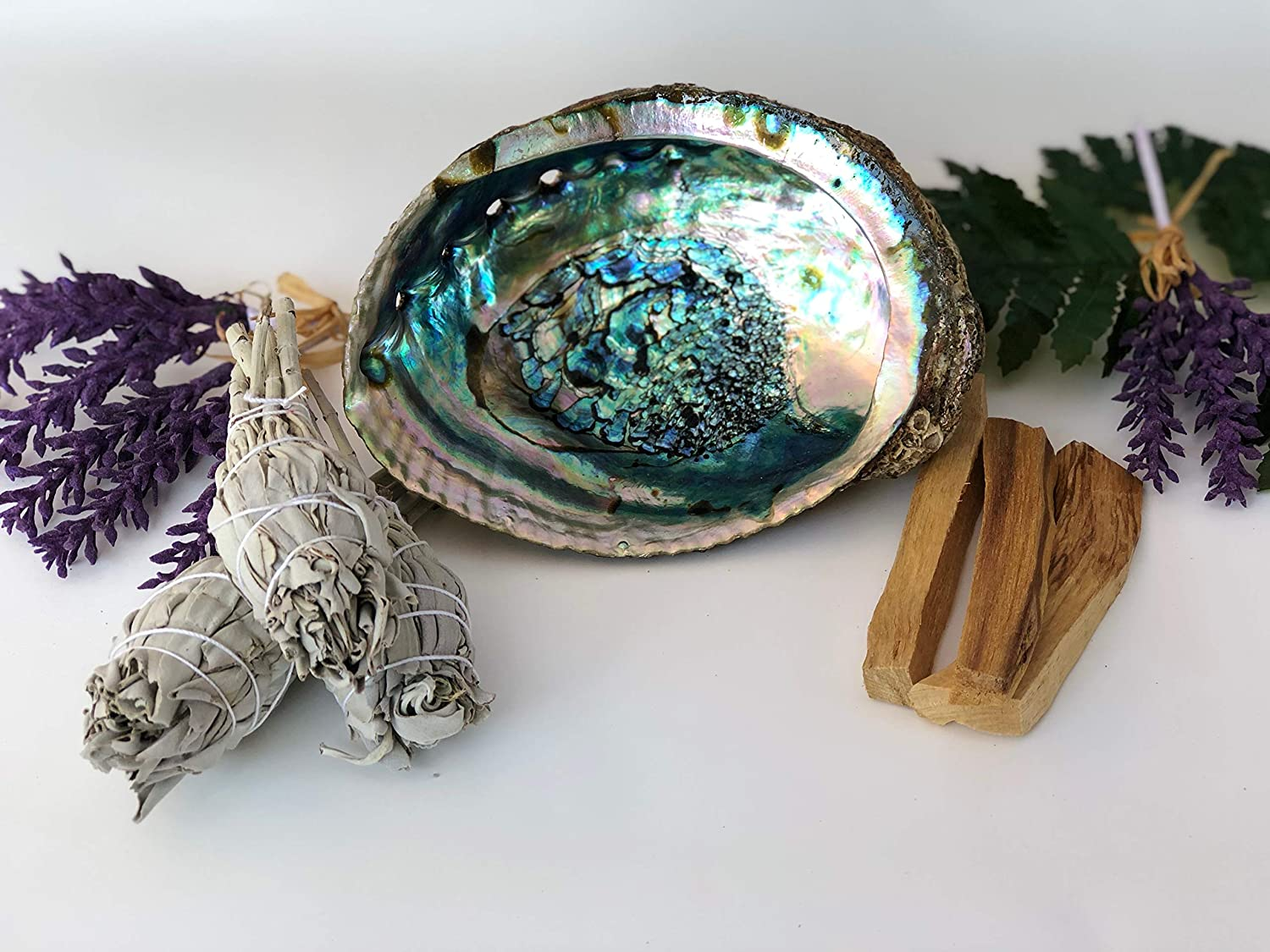 SMUDGING KIT Sticks - Sage Incense Sticks for Spiritual Chakra Cleansing, White Sage, Palo Santo & Abalone Shell for Healing Incense, Protection, Good Luck & Prosperity, Home Cleansing & Blessing Kit