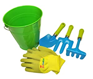 G & F 10051 JustForKids Kids Water Pail with Garden Tools Set and Gloves, Green