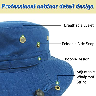 Unisex Kids Bucket Sun Canva Hat Boonie Floral Wide Brim Hunting Fishing Outdoor