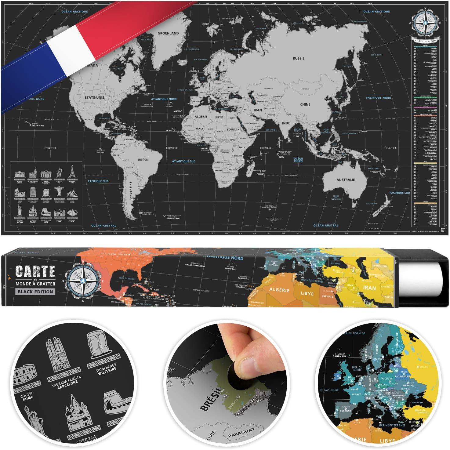 benehacks Mapa del Mundo en Galo Tipo póster para rascar SIGA Sus Aventuras de Viaje en un Mapa detallado del Mundo - Mapamundi Plata/Negro - 84 x 44 cm: Amazon.es: Hogar
