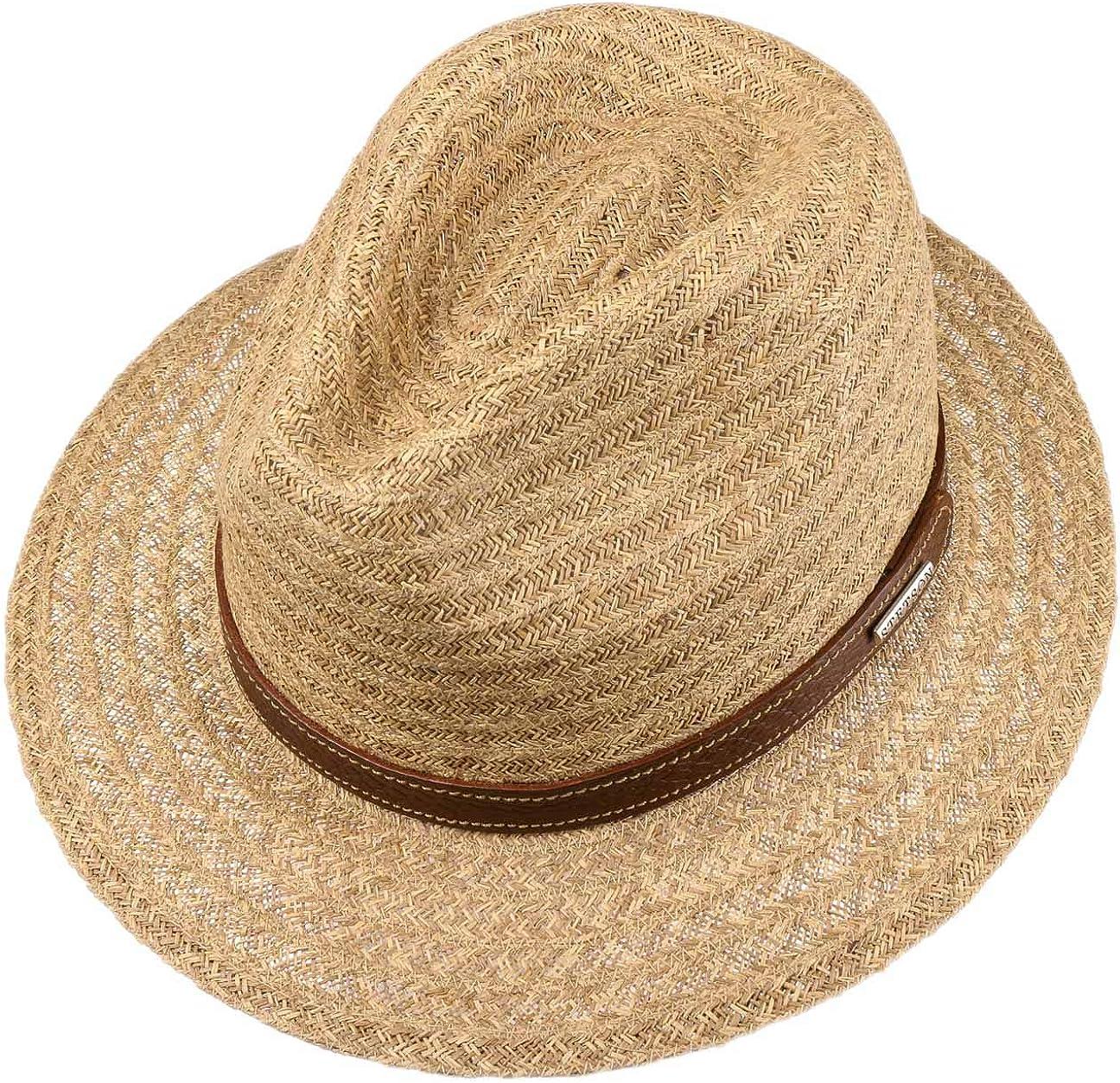 Stetson Cappello in Rafia Barnell Traveller Uomo di Paglia Estivo da Sole con Fascia Pelle Primavera//Estate