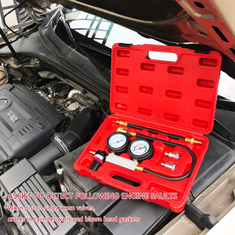 A JIFETOR Cylinder Leakage Tester Kit Automotive Car Truck Motorcycle Professional Dual Pressure Gauges Engine Compression Leak Detector Test Set for Gasoline Engine with 10 12 14mm Spark Plugs N