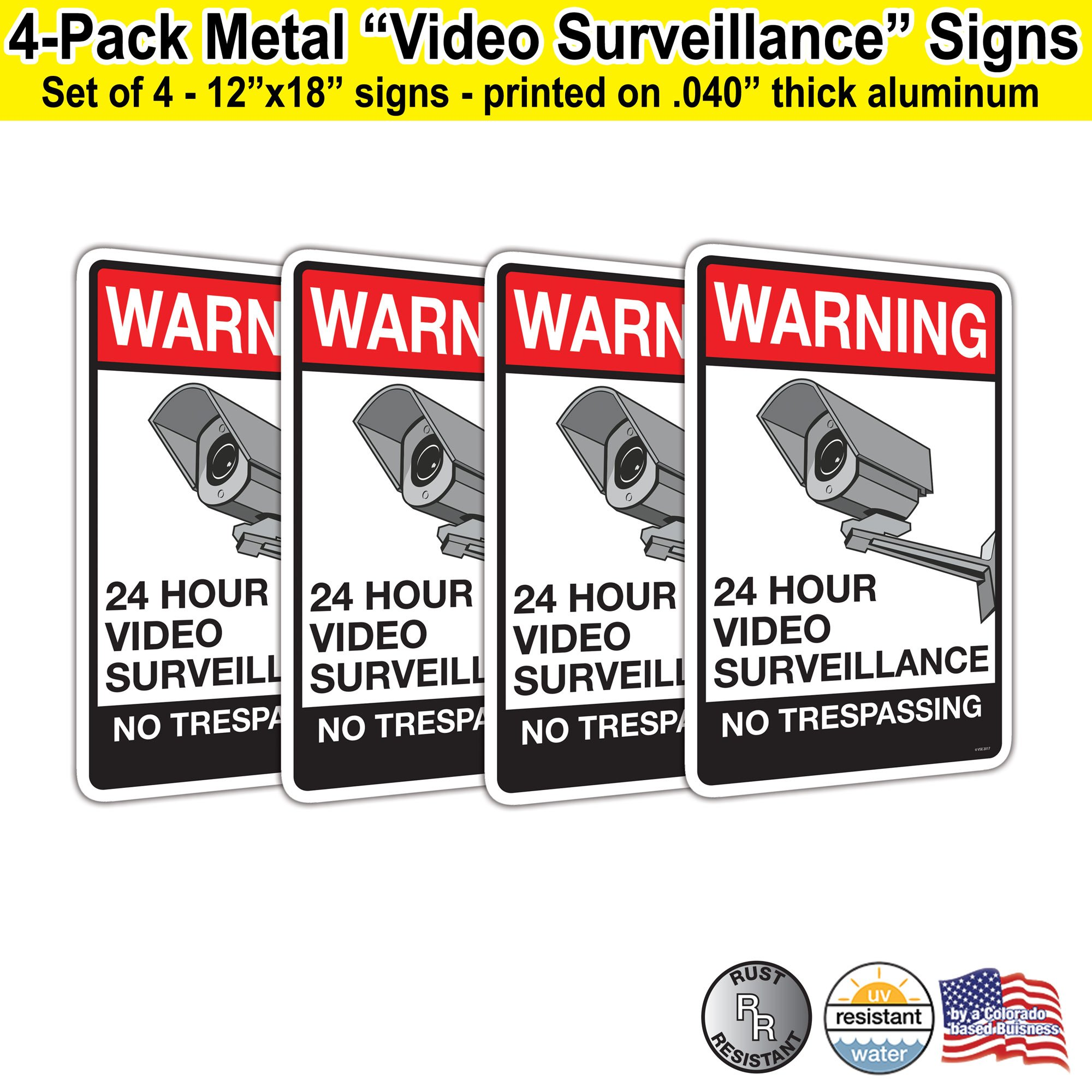 Visibility Signage Warning 24 Hour Video Surveillance No Trespassing 12x18 Heavy Duty Aluminum Metal Sign.040 Aluminum Color Printed Red Black on White (4) by Visibility Signage