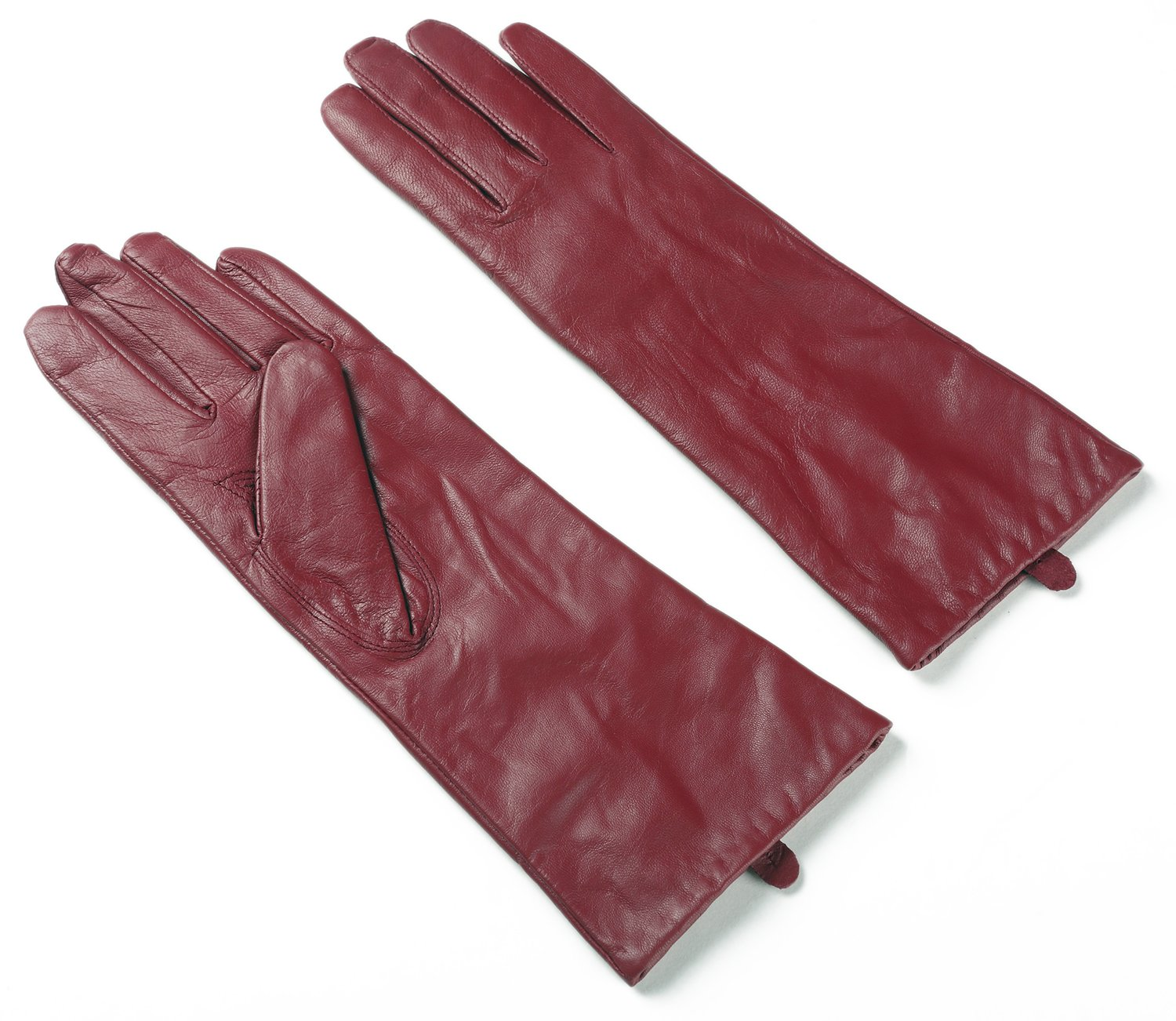 Ambesi Classic Women's Cashmere Lined Nappa Leather Winter Long Gloves Wine XL