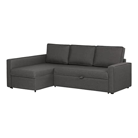 South Shore Live-It Cozy Interchangeable Sectional Sofa-Bed with Ottoman, Charcoal Gray
