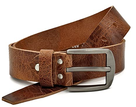 abb33087b5c6dc Fa.Volmer ® Brauner rustikaler Ledergürtel aus Büffelleder, 38mm breit und  ca. 3