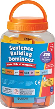 Educational Insights Sentence Building Dominoes, Ages 6 and Up, (114 Double-Sided Pieces and Storage Container)