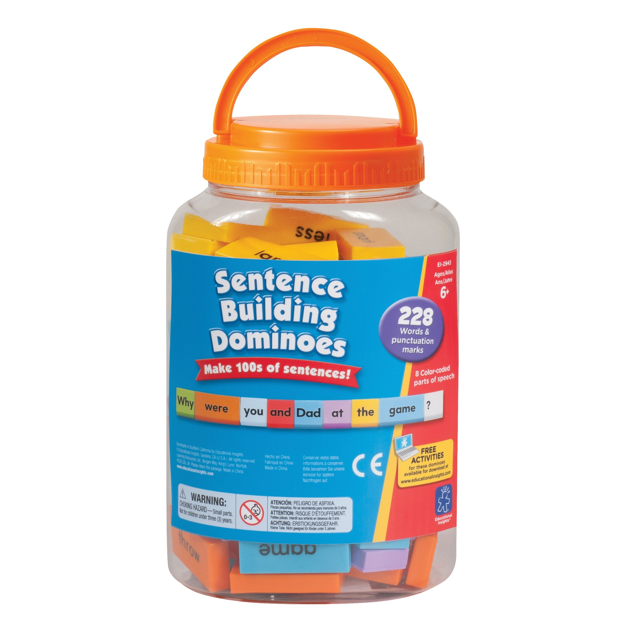 Educational Insights Sentence Building Dominoes,  Ages 6 and Up, (114 Double-Sided Pieces and Storage Container) by Educational Insights