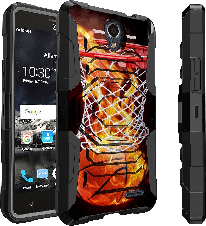 Untouchble   Compatible with ZTE Sonata 3, ZTE Maven 3, ZTE Overture 3 Case [Max Alpha] Combat Shockproof Two Layer Belt Clip Kickstand Cover Case Rugged - Basketball Fire