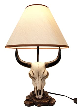 Atlantic Collectibles Longhorn Steer Cow Buffalo Skull Desktop Table Lamp  Statue Decor With Shade
