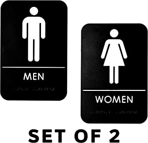 Alpine Industries Men's & Women's Restroom Signs, Set of 2 - Durable Vertical Self Adhesive Back & White Bathroom Door Sign/Placard w/Braille Lettering for Business Office & Restaurant