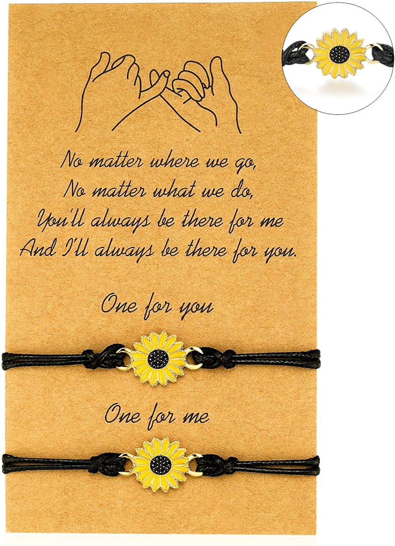 Best Friend Distance Matching Bracelets for Sister Daughter Mother Best Friend for Teen Girls Gifts Sunflower Bracelets Set for Women Couple Friendship Charms
