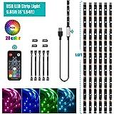 USB LED Strip Light Kit,9.85ft(6x1.64ft) 5050 Flexible RGB Strip Lighting with 18-Key RF Controller for Remote Home Decor Mood Lighting Kit DIY Kitchen, Cupboard, Desk, TV Backlight, Shelf