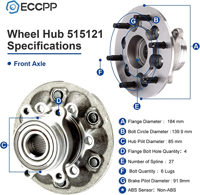 2 Front Wheel Bearing /& Hub 2009 2010 2011 2012 Chevrolet Colorado GMC Canyon