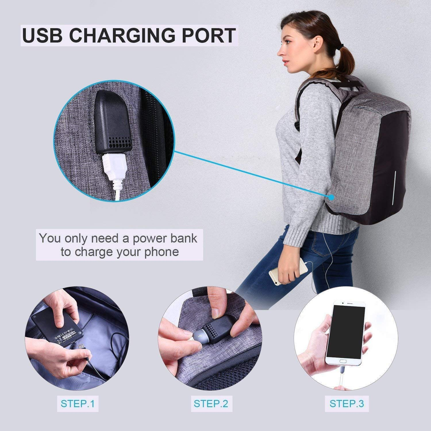 Laptop Backpack business anti-theft waterproof travel computer backpack with USB charging port college school computer bag for women & men fits 15.6 Inch Laptop and Notebook - Grey by Langus (Image #2)